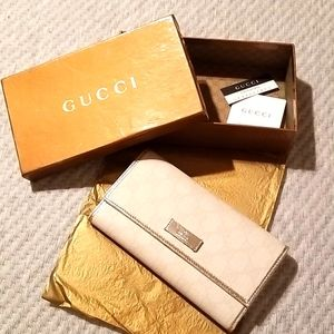 Gucci white/silver continental wallet